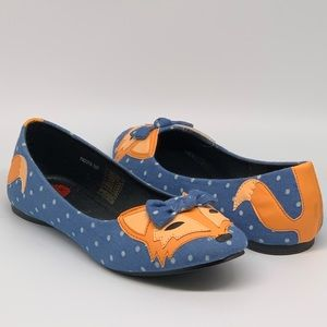 ModCloth T.U.K. TUK Denim Dot Fox Flat Shoes 38/7